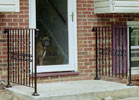 Dress up you front entrance door with the ornamental look of wrought iron designs.